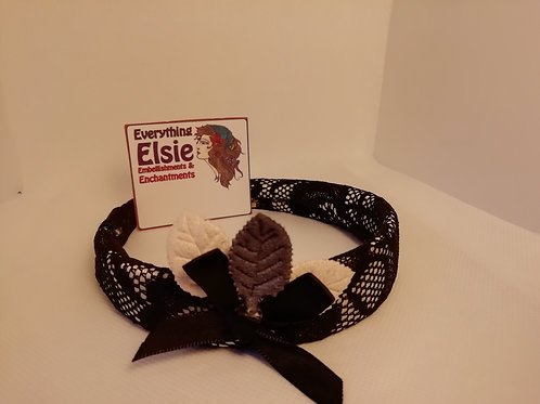 Headband - Black Lace Alice Bow Leaves