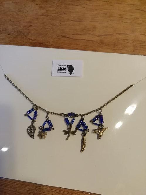 Necklace - Antique Bronze Blue Triangles