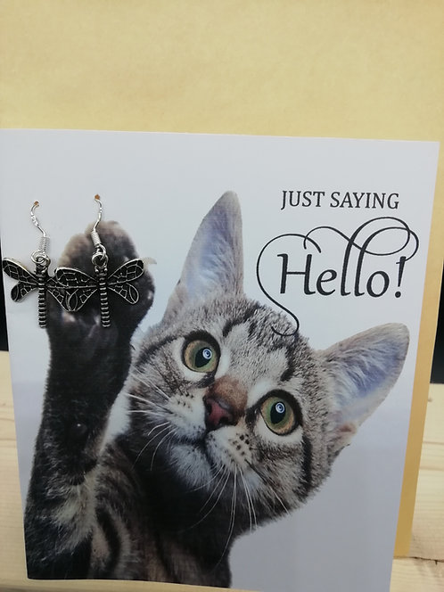 Card - Just Saying Hello Cat Dragonflies