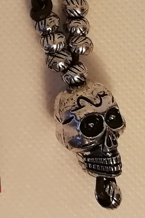 Necklace - Long Light Skull and Beads