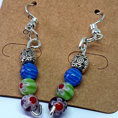 Earrings - Blue Green Glass Beads