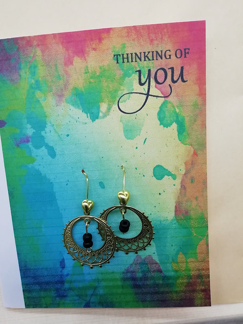 Card - Thinking of You Gold Filigree Hoop Black Bead Earrings