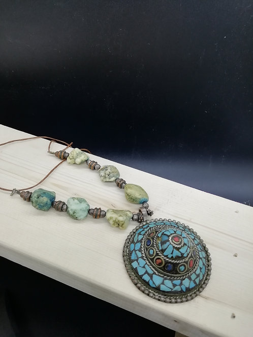 Necklace - Blue/Green Pendant and Stones