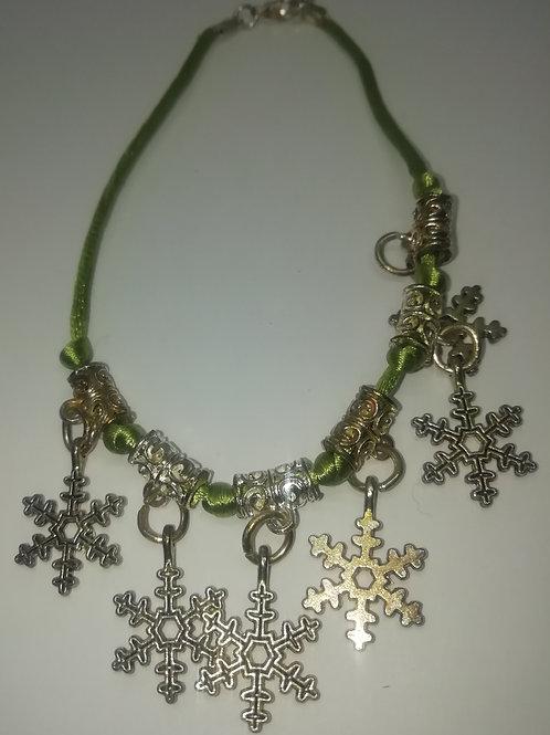 Bracelet - Green Cord Silver Snowflakes