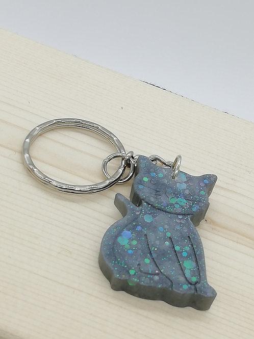 Keyring - Cat Grey Blue Glitter