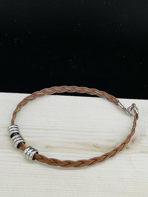Bracelet - Simple Plait Silver Rings