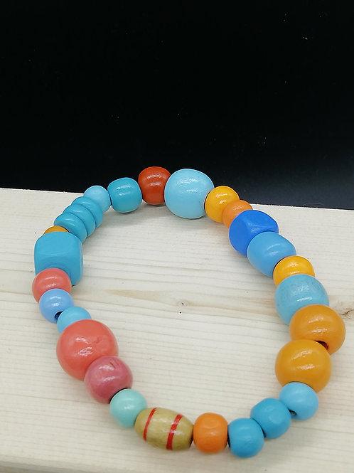 Bracelet - Wooden Beads Blue Orange