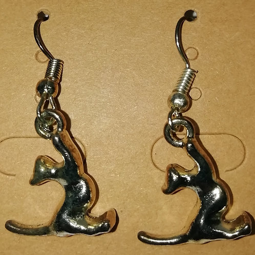 Earrings - Cat Playing With Ring