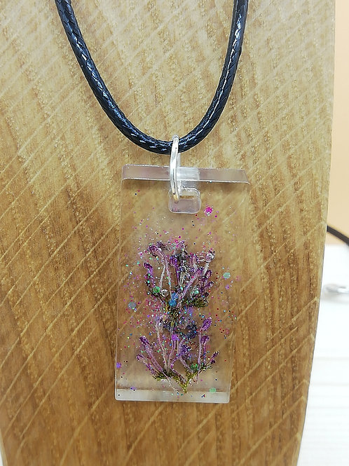 Necklace - Clear Rectangle Dried Flowers