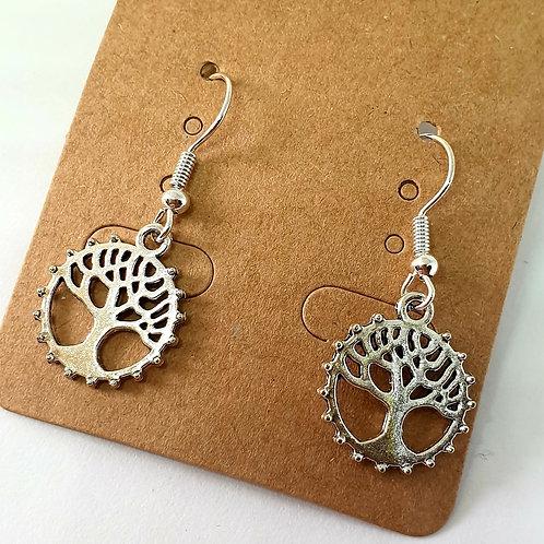Earrings - Trees Circles Scalloped Edges