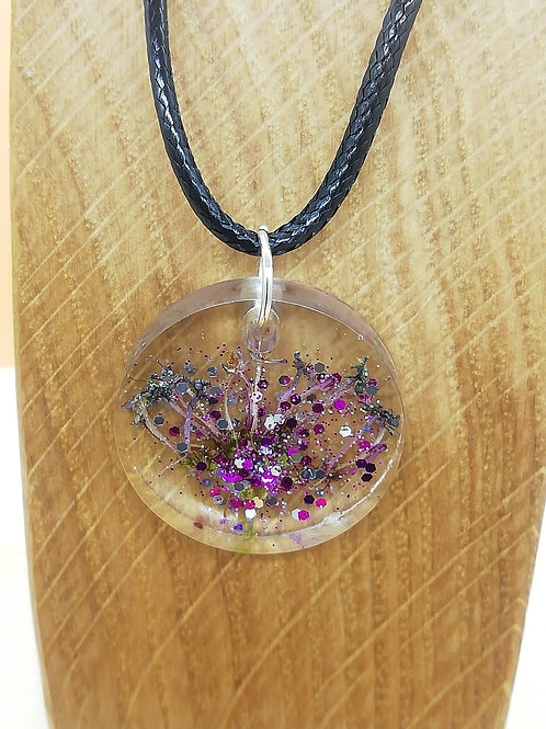 Necklace - Clear Circle Dried Flowers