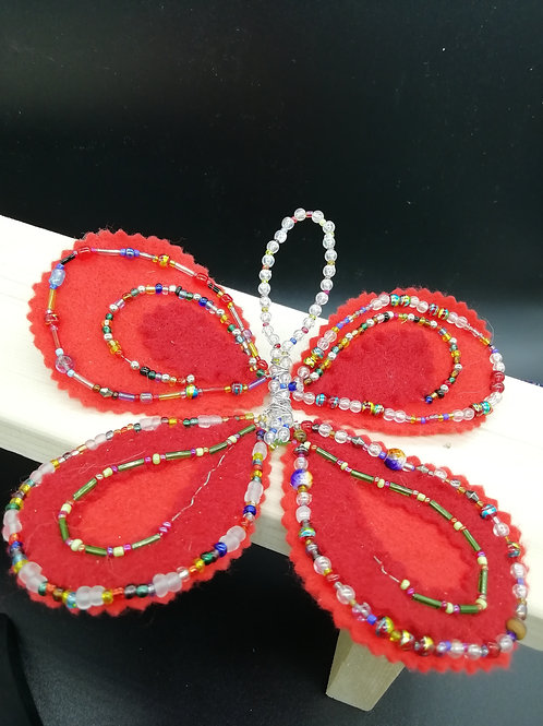 Butterfly Red Beaded Felt - For Craft Projects