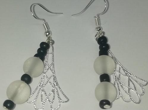 Earrings – Black White Beads Fan