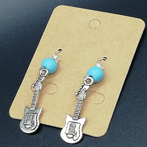 Earrings - Electric Guitar, Blue Bead