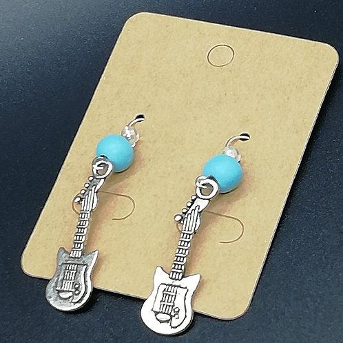 Earrings - Electric Guitar, Blue Bead