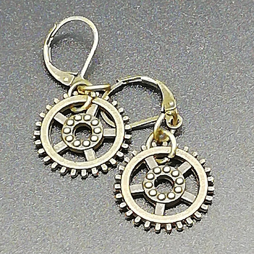 Earrings - Brass Cogs