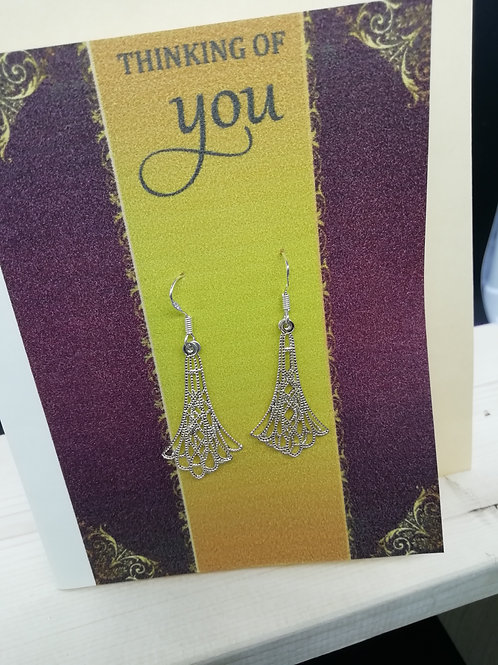 Card - Thinking of You Gold Filigree Earrings