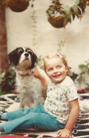 The young Penny and her dog.