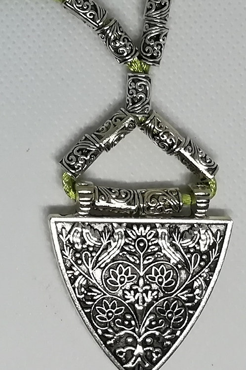 Necklace - Silver-Coloured Triangle Green
