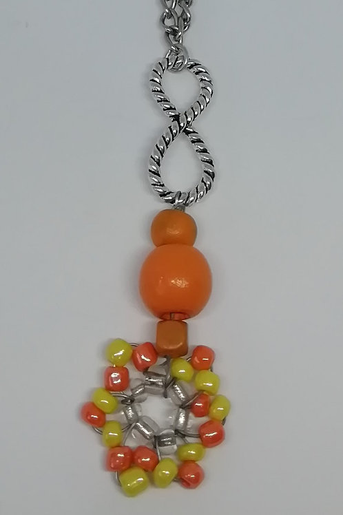 Necklace - Orange Yellow Bead Flower