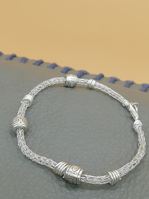 Viking Knit Wire Bracelet Small Multiple Beads