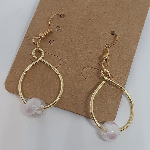 Earrings - Gold-Coloured Hoops Pink Grey Beads