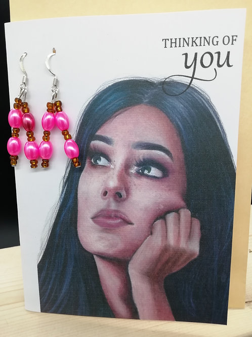 Card - Thinking of You Pink Bead Earrings
