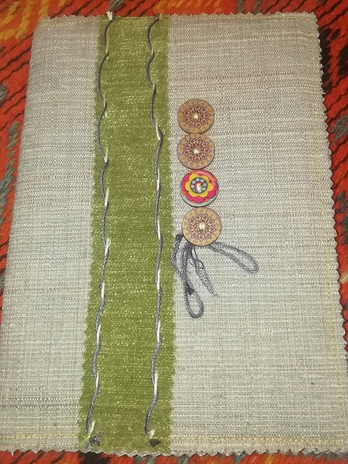 Covered Notebook - Sage Green Strip and Buttons