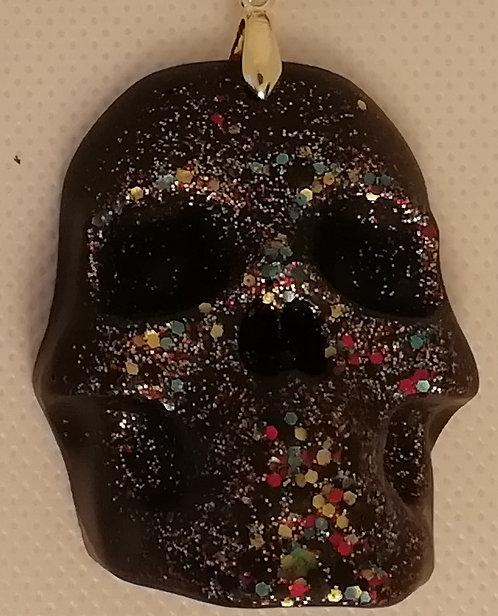 Necklace - Large Black Resin Skull