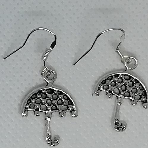 Earrings Silver-Coloured Umbrellas