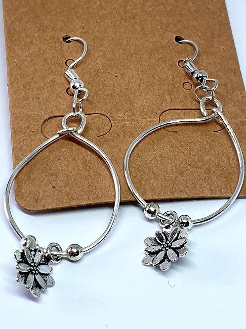 Earrings - Silver Hoop Flowers