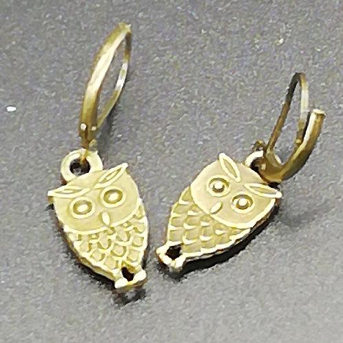 Earrings - Brass Owls