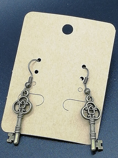 Earrings - Antique Brass Key 142