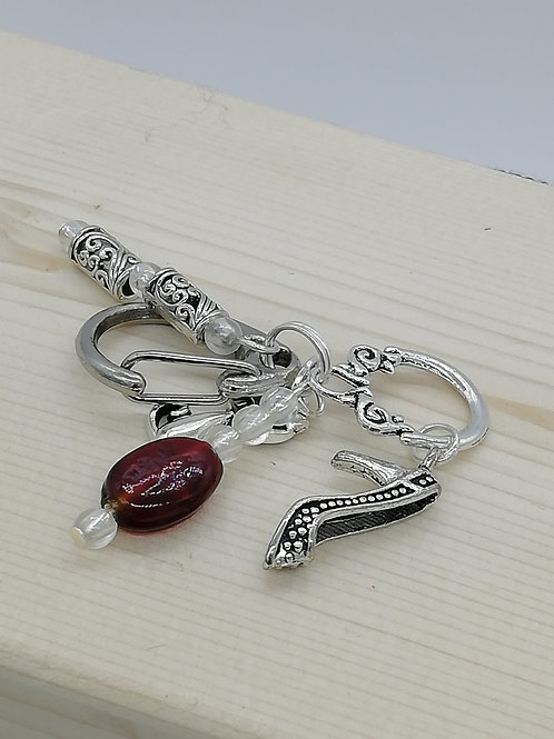 Keyring Silver Charm Red Bead Shoe