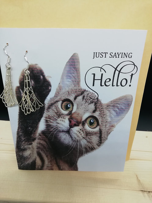 Card - Just Saying Hello Cat Filigree