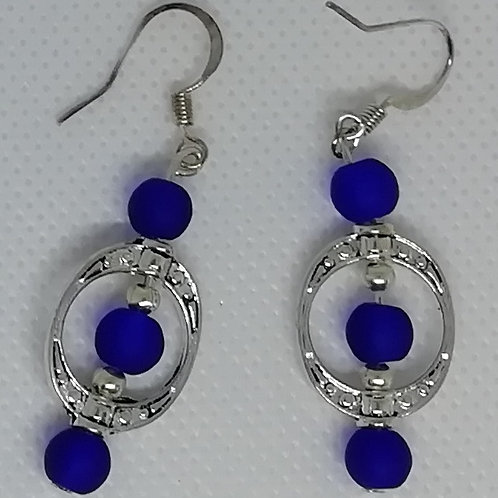 Earrings - Silver Oval and Blue Beads