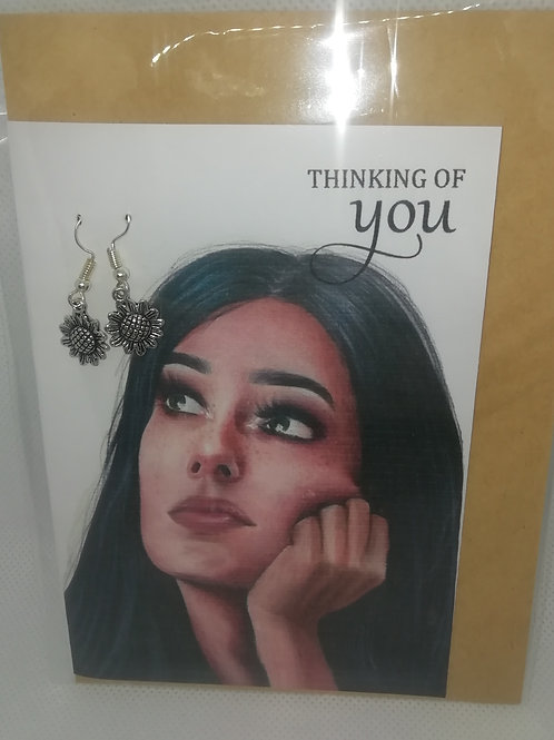 Card - Thinking of You Flower Earrings