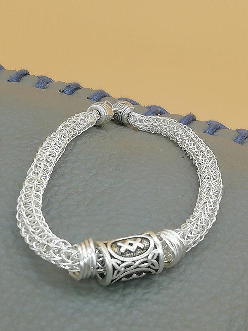 Viking Knit Wire Bracelet Medium Multiple Beads