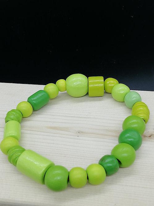 Bracelet - Wooden Beads Green