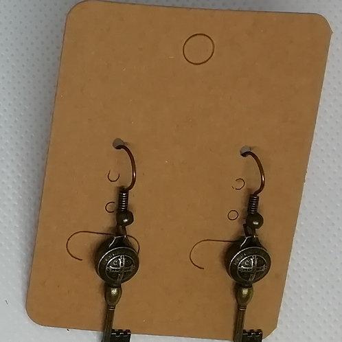 Earrings Antique Brass Key 081