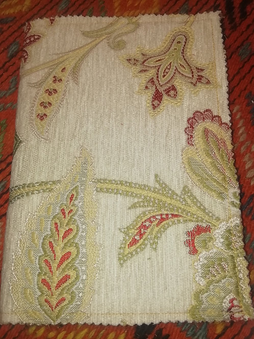 Covered Notebook - White/Red/Gold Tapestry