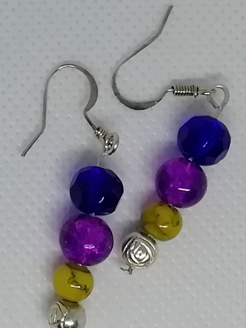 Earrings - Purple Yellow Beads