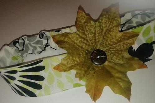 Headband - Child/Baby Cotton Green White Leaves