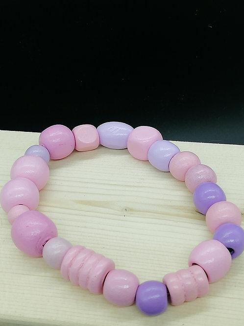 Bracelet - Wooden Beads Lilac Pink