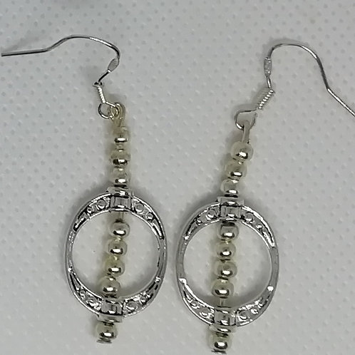 Earrings - Oval with Silver-Coloured Beads