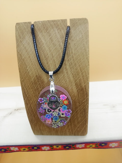 Necklace - Resin Oval Citrus Clear Padlock