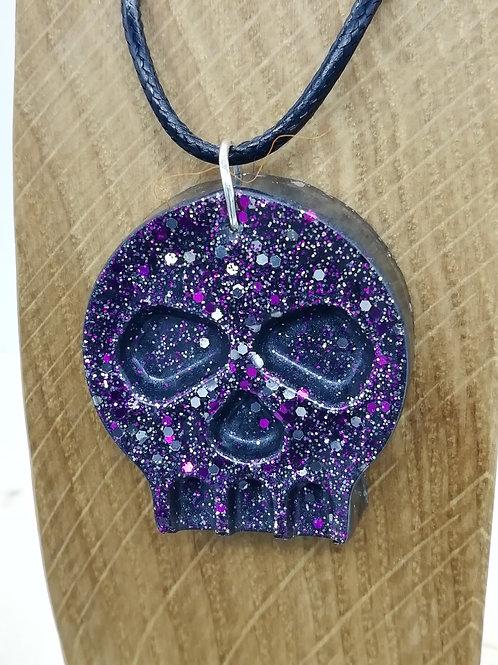 Necklace - Purple Resin Skull