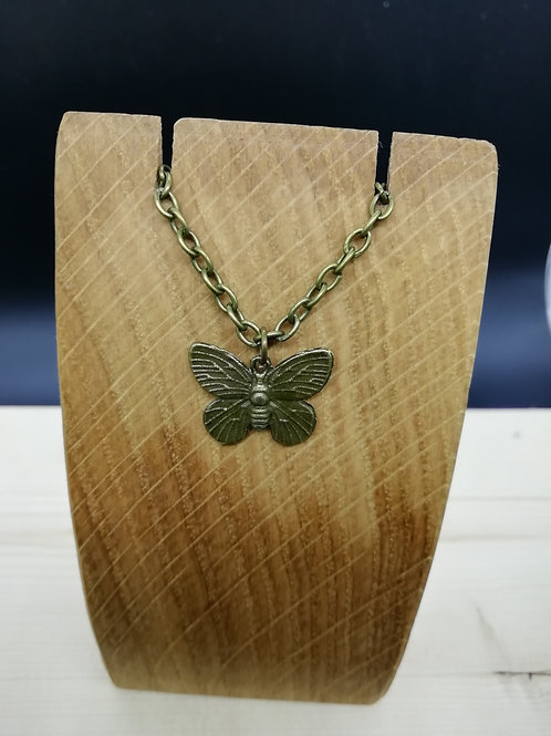Necklace - Antique Brass Butterfly