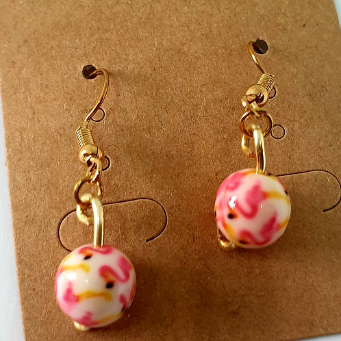 Earrings - Gold-Coloured Hoops Pink-White Beads