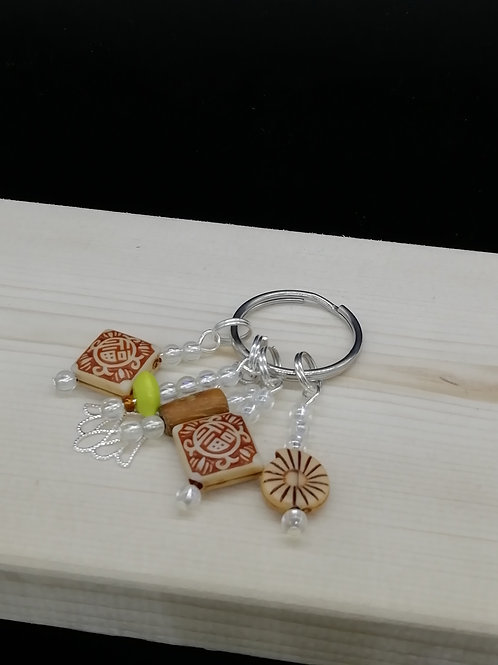 Keyring - Cream Brown Ethnic Clear Beads